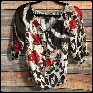 WHBM floral embroidered keyhole beaded blouse